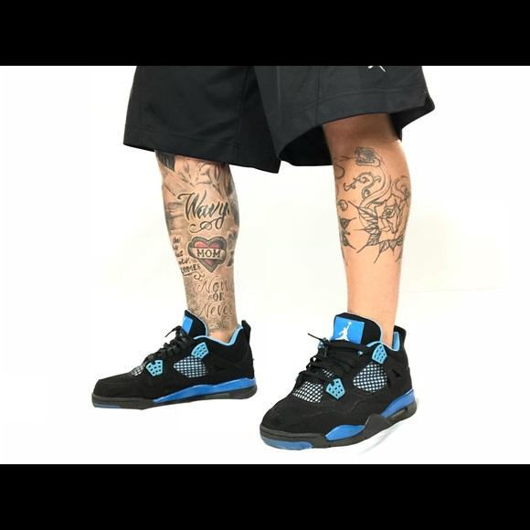 wholesale dealer e0de5 46c88 Retro Jordan 4 Black suede and baby blue